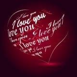 Coração feito eu te amo da frase Foto de Stock