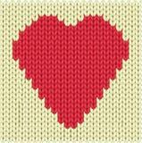 Coração feito malha Fotografia de Stock Royalty Free