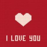 Coração feito malha. Cartão do dia dos Valentim. Fotos de Stock