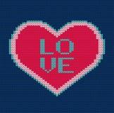 Coração feito malha Teste padrão sem emenda do vetor para a camiseta Imagens de Stock Royalty Free