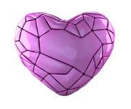 Coração feito na baixa cor poli do rosa do estilo isolada no fundo branco 3d Fotografia de Stock