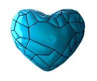 Coração feito na cor azul do baixo estilo poli isolada no fundo branco 3d Fotos de Stock