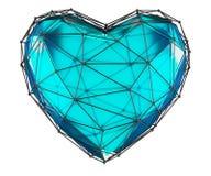 Coração feito na cor azul do baixo estilo poli isolada no fundo branco 3d ilustração stock