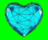 Coração feito na cor azul do baixo estilo poli isolada no fundo verde 3d ilustração do vetor
