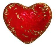 Coração feito na cor vermelha do baixo estilo poli isolada no fundo branco 3d Fotografia de Stock