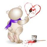 Coração feliz da pintura de Teddy Bear Fotos de Stock Royalty Free