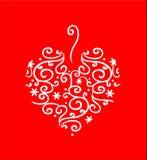 Coração Filigree no vermelho ilustração stock