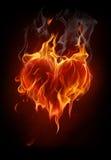 Coração flamejante Fotos de Stock Royalty Free