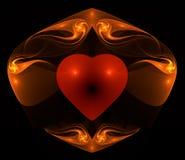 Coração flamejante Fotografia de Stock Royalty Free