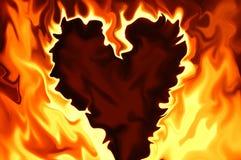 Coração flamejante Fotos de Stock