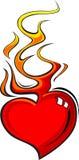 Coração flamejante Foto de Stock