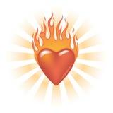 Coração flamejante Glassy Imagens de Stock Royalty Free