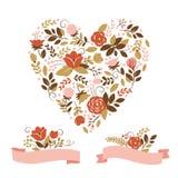 Coração floral Imagem de Stock Royalty Free