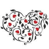 Coração floral abstrato Fotos de Stock Royalty Free