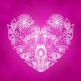 Coração floral abstrato cor-de-rosa Foto de Stock