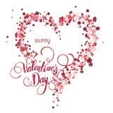 Coração floral bonito Cartão do Valentim Foto de Stock