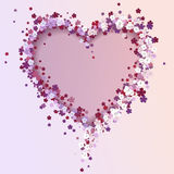 Coração floral bonito Cartão do Valentim Fotografia de Stock Royalty Free