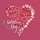 Coração floral bonito Cartão do Valentim Imagens de Stock Royalty Free