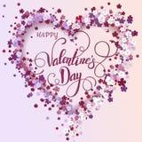 Coração floral bonito Cartão do Valentim Foto de Stock Royalty Free