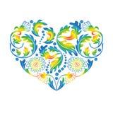 Coração floral colorido no fundo branco, Imagens de Stock Royalty Free