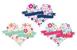 Coração floral com bandeira Fotos de Stock Royalty Free