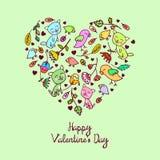 Coração floral da garatuja bonito do vetor ilustração do vetor