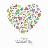 Coração floral da garatuja bonito do vetor Foto de Stock