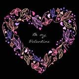 Coração floral da garatuja bonito do vetor Foto de Stock Royalty Free