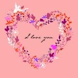 Coração floral da garatuja bonito do vetor ilustração stock
