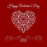 Coração floral das gregas do vetor sobre o vermelho Feriado feliz do dia de Valentim Fotografia de Stock