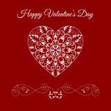 Coração floral das gregas do vetor sobre o vermelho Feriado feliz do dia de Valentim Imagens de Stock Royalty Free