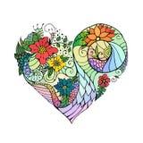 Coração floral decorativo da garatuja do dia de Valentim Imagens de Stock