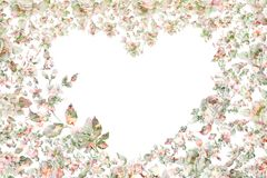 Coração floral do cartão festivo do vintage Foto de Stock