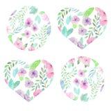 Coração floral e círculo da aquarela Fotografia de Stock Royalty Free