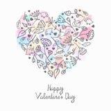 Coração floral romântico da garatuja com fundo do respingo Fotografia de Stock