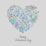 Coração floral romântico da garatuja com fundo do respingo Fotografia de Stock Royalty Free