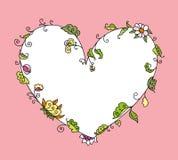 Coração floral tirado mão ilustração do vetor