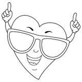 Coração fresco colorindo com óculos de sol ilustração stock