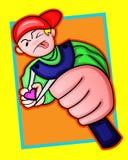 Coração funky do tiro do alvo do menino com estilingue ilustração stock