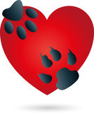 Coração, gato, cão, patas, logotipo ilustração royalty free