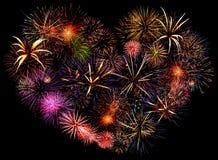 Coração grande bonito do fogo-de-artifício Fotografia de Stock