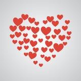 Coração grande dos corações vermelhos pequenos Fotos de Stock