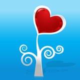 Coração grossy vermelho da gema e árvore de prata Imagens de Stock Royalty Free