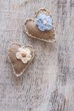 Coração handmade da lona Imagem de Stock Royalty Free