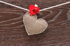 Coração handmade da lona Imagens de Stock Royalty Free