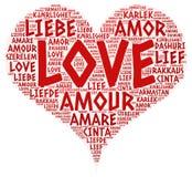Coração ilustrado com palavra do amor Foto de Stock Royalty Free