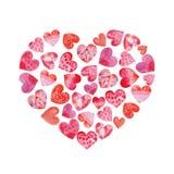 Coração isolado aquarela com corações para dentro foto de stock royalty free