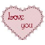 Coração laçado vermelho estilizado imagem de stock