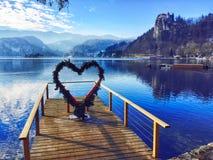 Coração, lago sangrado, fotografia de stock