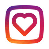 Coração liso do ícone do inclinação do mosaico da cor para como seu projeto de design social do app dos meios Imagens de Stock Royalty Free